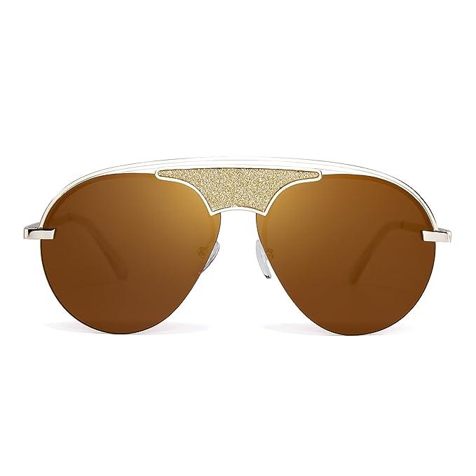 db74ee8442 Rimless Aviator Sunglasses Metal Flat Top Designer Glasses Tinted Men Women  (Gold Brown)