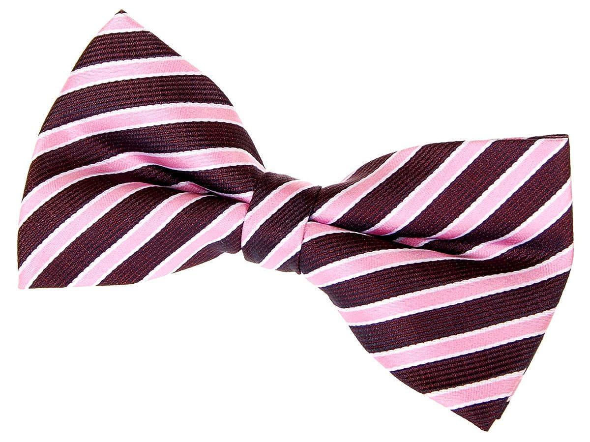 Retreez Two-Colour Stripe Woven Pre-tied Bow Tie Various Colors 5