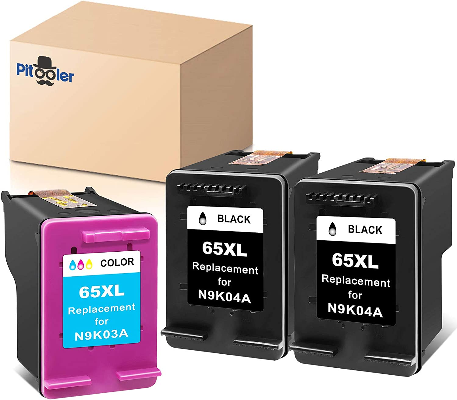 Pitooler Remanufactured Ink Cartridge Replacement for HP 65XL 65 XL Black Tri-Color to Use with Envy 5052 5055 5012 5010 5020 DeskJet 2600 2622 2652 3722 3755 3752 2635 2640 AMP 120 Printer, 3-Pack