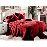 Comfy Luxe Faux Fur 6 Pieces Blanket Comforter Set, King, Red