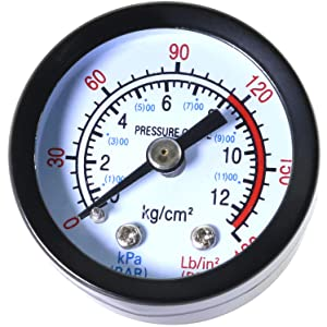 "ToToT 1-Pack Air Pressure Gauge 1.65"" Dial, Center Back Mount, 1/8"" Male NPT Connection Size, 0-180 PSI"