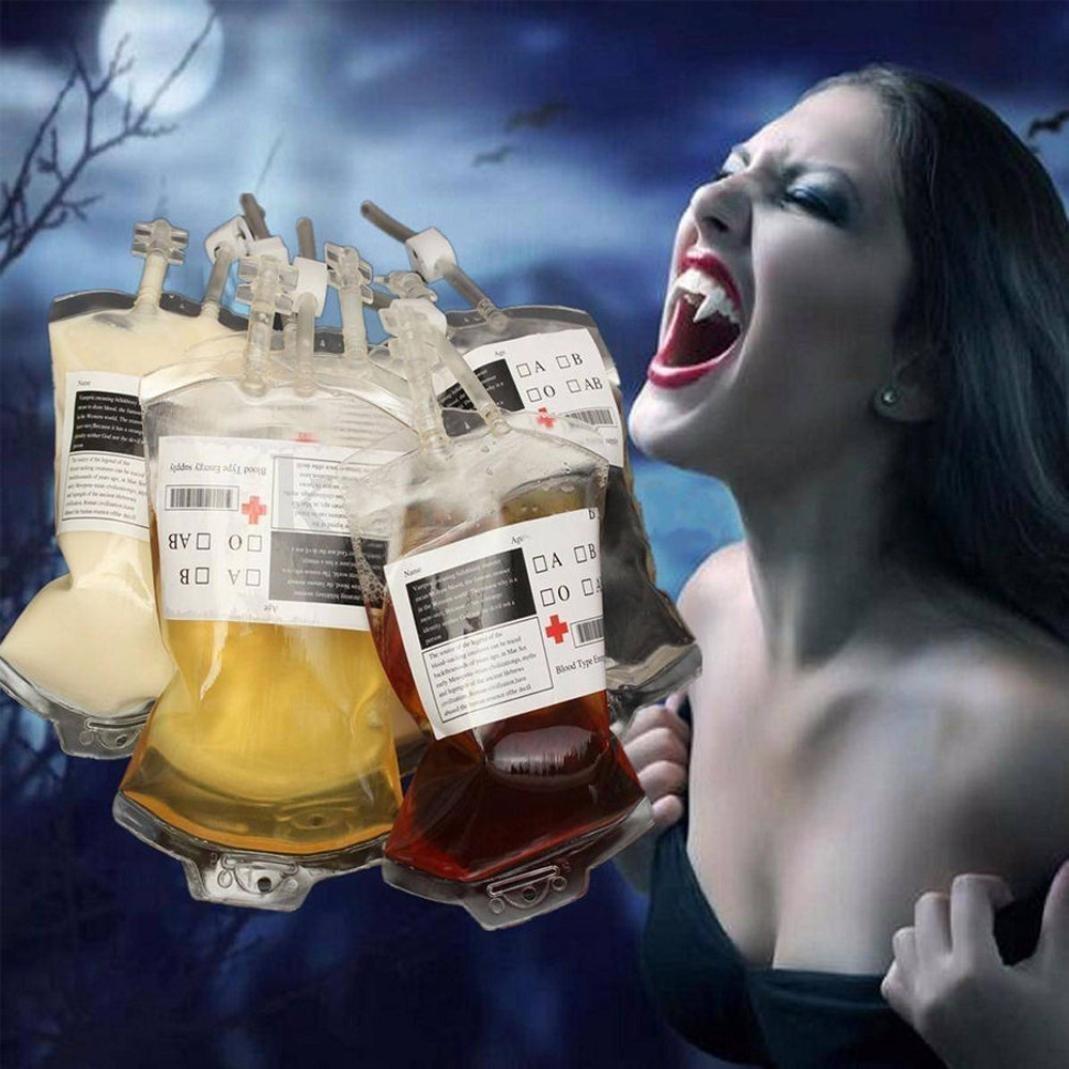 Wensltd 5PCS Reusable Blood Energy Drink Bag Halloween Party Cups Vampire Cosplay