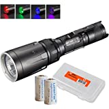 Nitecore SRT7GT 1000 Lumens Smart Ring Tactical Flashlight with Ultraviolet, White, Red, Green & Blue LEDs and 2x CR123A Batteries & LumenTac Battery Organizer - SRT7 UPGRADE