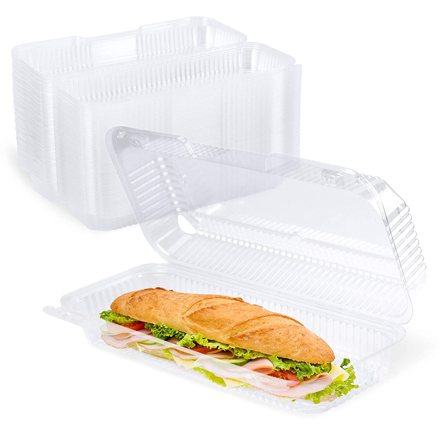"""[25 Pack] Clear Hinged Plastic Containers - 12x5x3"""" Single Compartment Clamshell Food Containers for Cake Roll, Cookie, Sandwich, and Baked Goods - Disposable Plastic Togo Boxes with Lids for Bakery"""