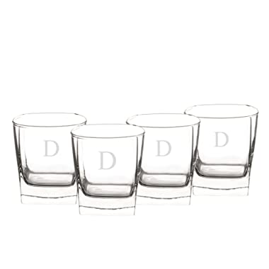 Cathy's Concepts Personalized Whiskey Glasses, Set of 4, Letter D