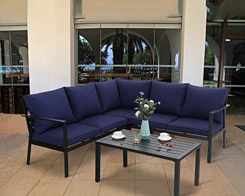 PHIVILLA 4-Piece Outdoor Cushioned Metal Conversation Set Patio Furniture Sectional Set
