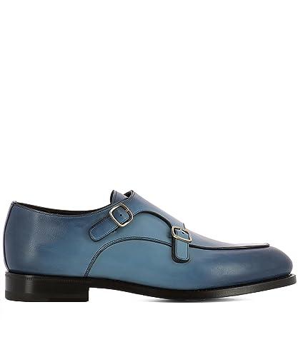 Herren Mcc016036pc2ngthu53 Blau Leder Monk-Schuhe Santoni Billig Genießen Gemütlich P1wYT7