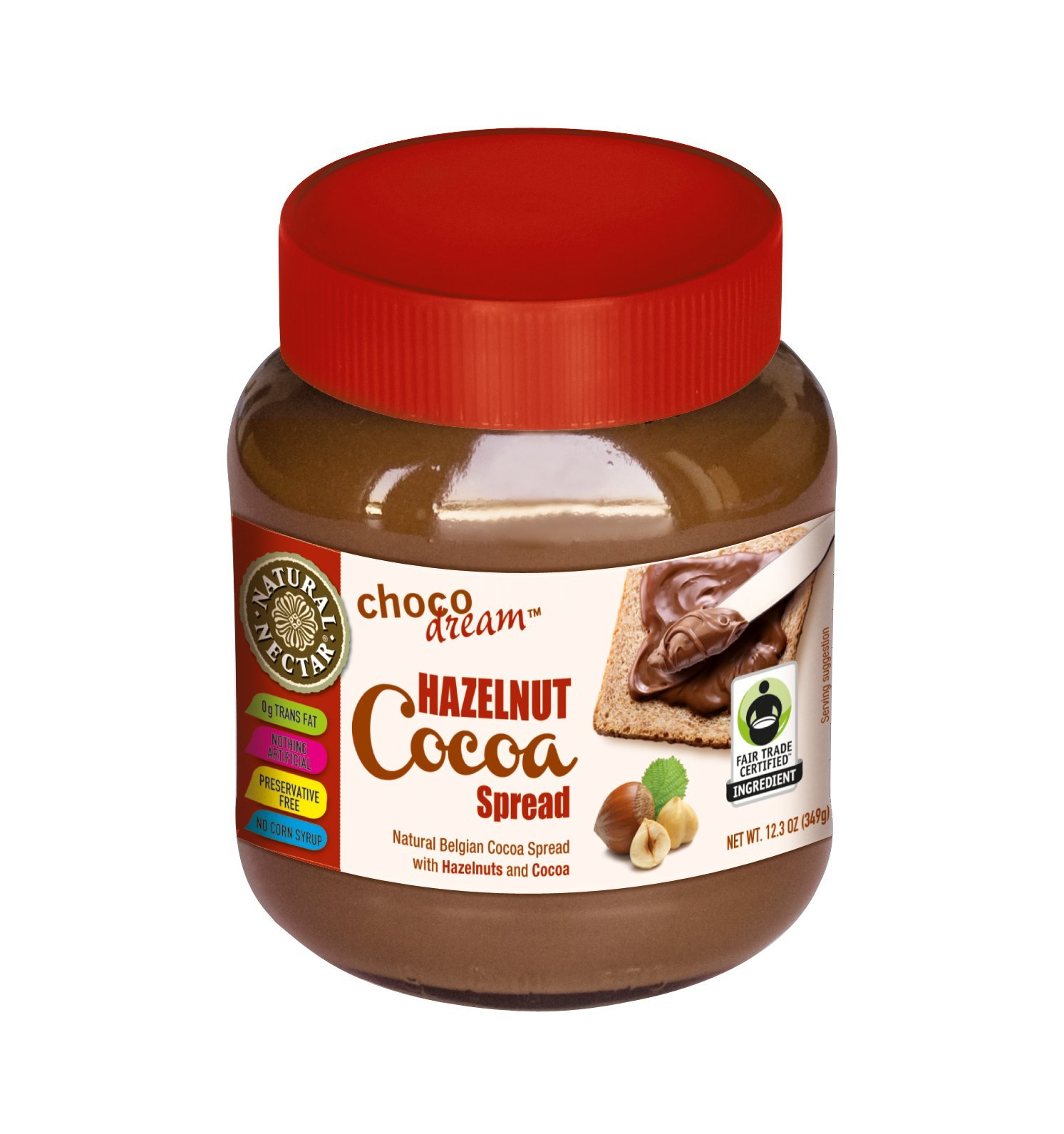 Natural Nectar Natural ChocoDream, Belgian Cocoa Spread with Hazelnuts, 12.3-Ounce Glass Jars (Pack of 3)