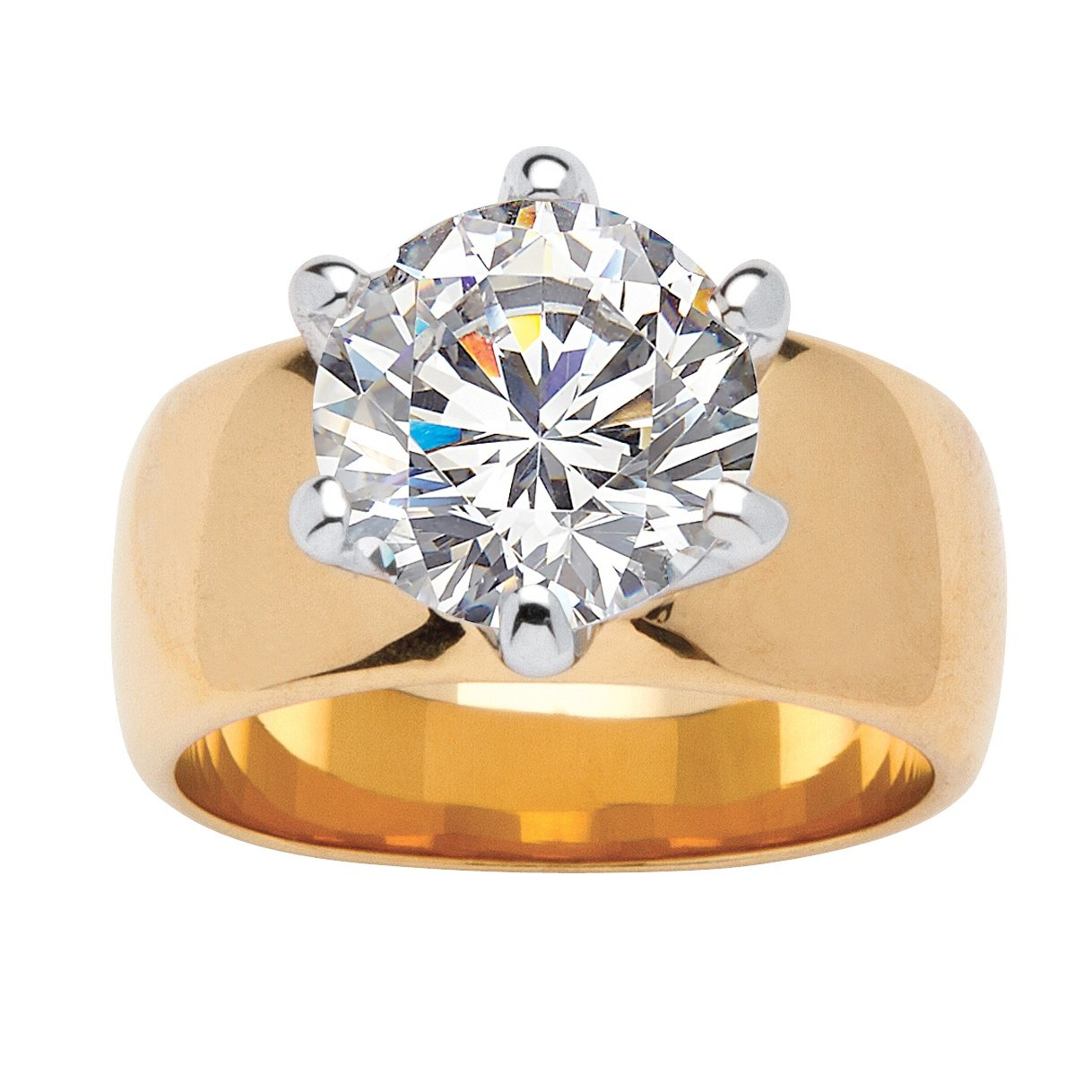 Palm Beach Jewelry Round White Cubic Zirconia 14k Gold-Plated Solitaire Engagement Anniversary Ring