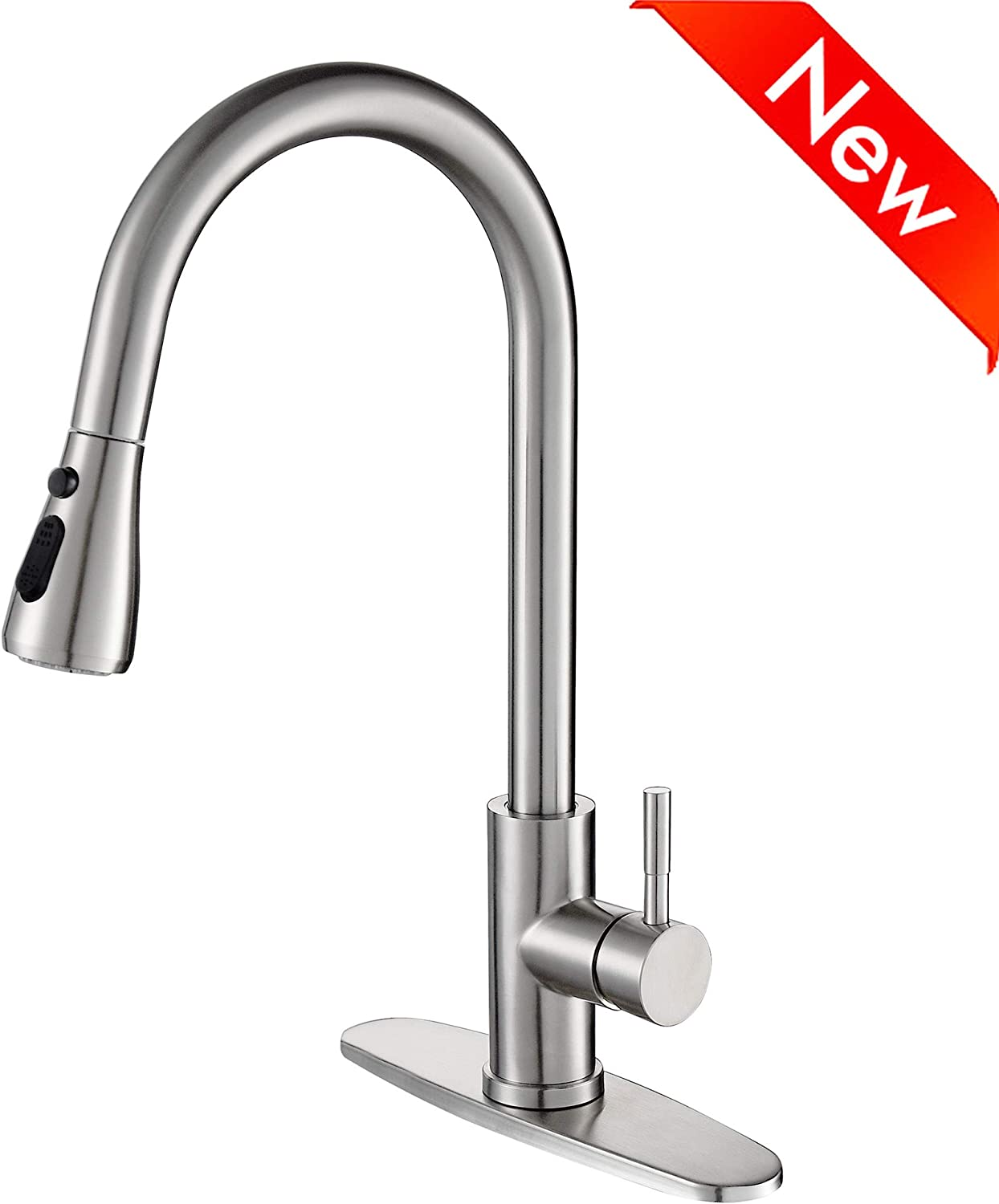 Stainless Steel Kitchen Faucet With Pull Down Sprayer High Arc Single Handle Faucets For Kitchen Sink With Deck Plate Brushed Nickel Naturous Amazon Com