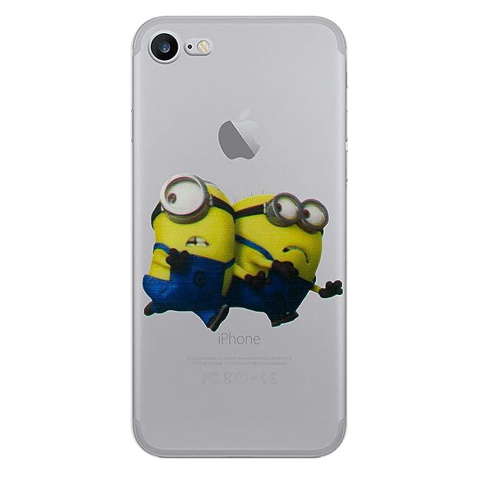 iCHOOSE iPhone 7 Caso / Minions Dibujos Animados Cubierta de Gel para Apple iPhone 7 / Protector de Pantalla y Paño / Fácil para 3