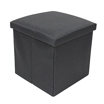 EchoMerx 2 Cubic Foot Extra Padded Storage Ottoman With Lift Top, Black  Woven Fabric