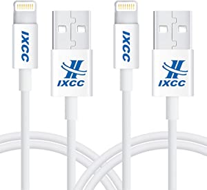 iXCC Lightning Cable 3ft, iPhone Charger, for iPhone X, 8, 8 Plus, 7, 7 Plus, 6s, 6s Plus, 6, 6 Plus, SE 5s 5c 5, iPad Air 2 Pro, iPad Mini 2 3 4, iPad 4th Gen [Apple MFi Certified](2Pack White)