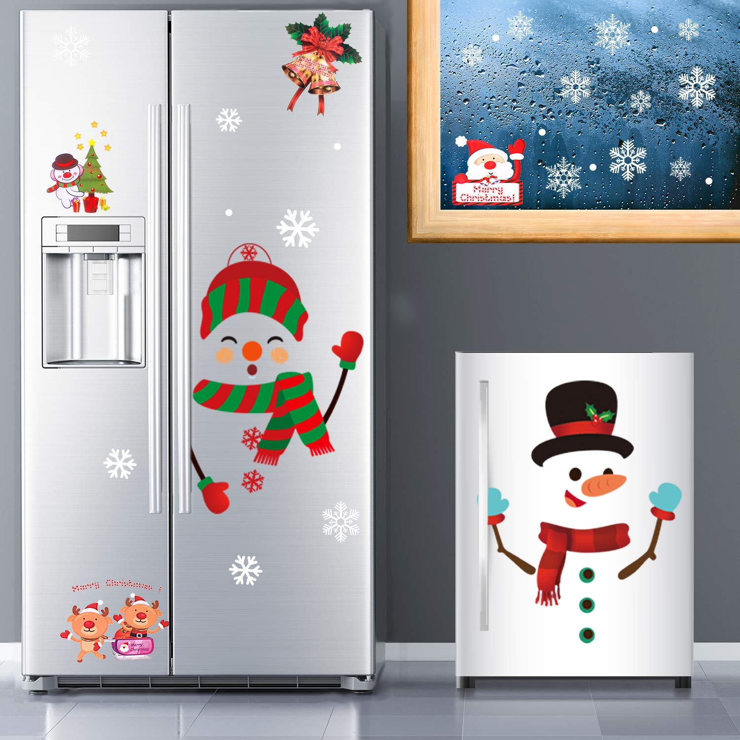 Whaline 64Pcs Christmas Stickers for Refrigerator,Window and Wall,Snowman Snowflakes Christmas Window Clings Decal Stickers,Holiday Xmas Decorations for Fridge, Door, Garage, Office Cabinets(4 Sheets)