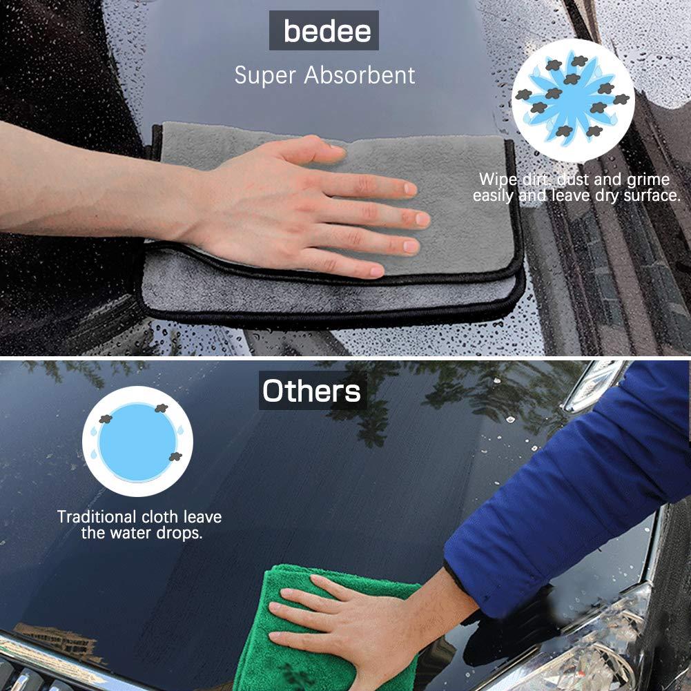 bedee 4Pcs Chiffons de Nettoyage Microfibre, Serviette de Séchage de Voiture Double Couche, pour Voiture, Moto, appareils domestiques, Utilisation Industrielle 40X40cm