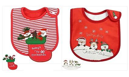 Baberos Navidad, Fontee Baby 2 pcs bebé Bandana Baberos del pañuelo para Niños Niñas Suave