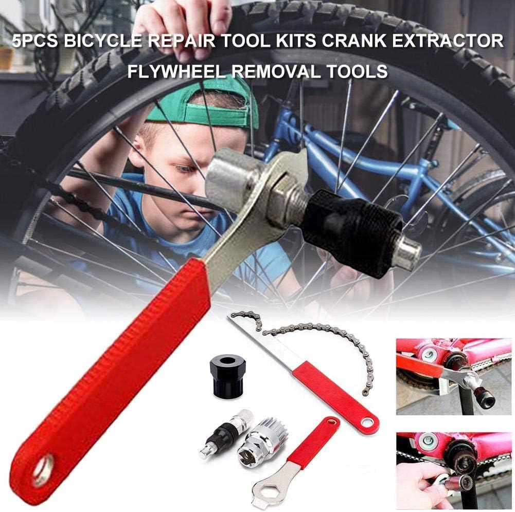 Fahrrad-Reparatur-Werkzeug-Kits 5PCS f/ür Outdoor Radsport Kurbelabzieher Flywheel Removal Tools
