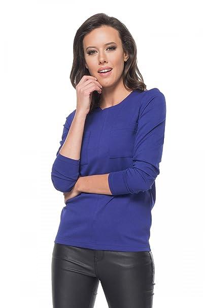Clea Blusa con Dos Bolsillos, Color Azul Marino, Talla:38