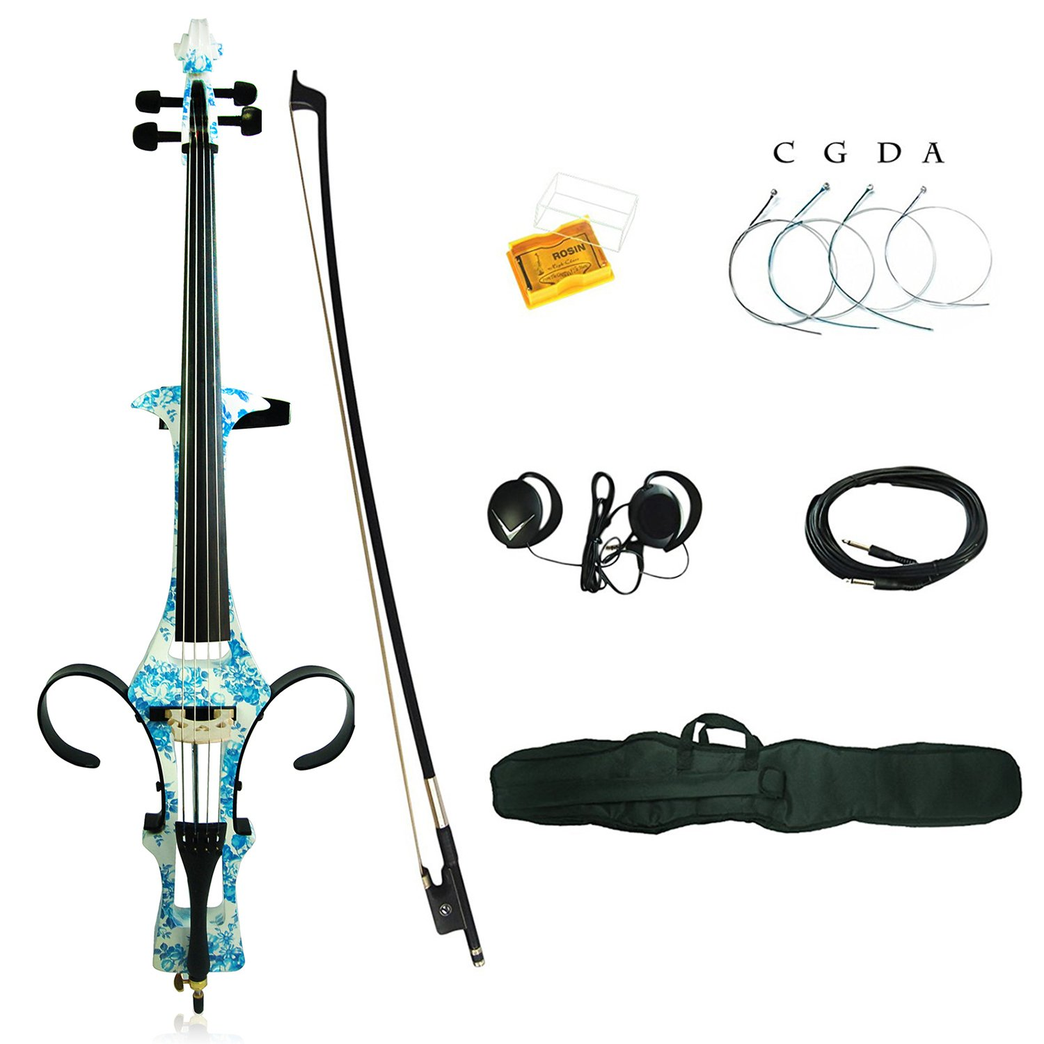 Aliyes Professional Handmade Solid Wood Electric Cello 4/4 Full Size Silent Electric Cello With bow, Case,Bridge Strings-1201