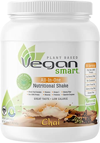 Vegansmart Plant Based Vegan Protein Powder by Naturade, All-In-One Nutritional Shake – Chai 15 Servings