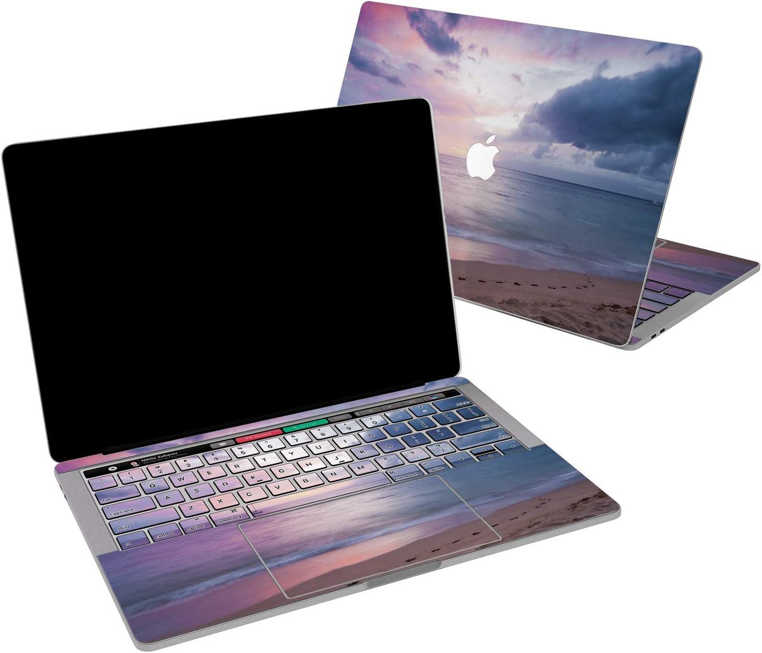 Lex Altern Vinyl Skin for MacBook Air 13 inch Mac Pro 16 15 Retina 12 11 2020 2019 2018 2017 Pink Purple Seaside Beach Ocean Sky Natural Purple Print Laptop Cover Keyboard Decal Sticker Design