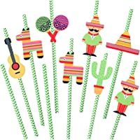 Ruisita 48 Sets Mexican Fiesta Party Paper Straws Cactus Sombrero Donkey Pattern Striped Drinking Decorative Straws for…
