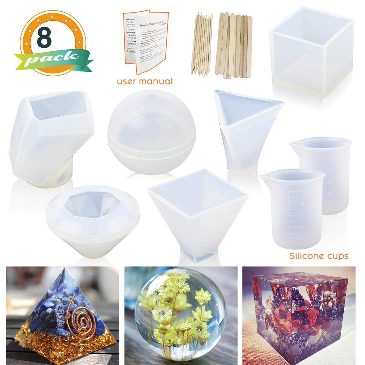 Square Pyramid Soap Silicone Resin Molds 5Pcs Resin Casting Molds Including Sphere Round with 1 Measuring Cup /& 5 Plastic Transfer Pipettes for Resin Epoxy Bowl Mat etc Candle Wax Cube