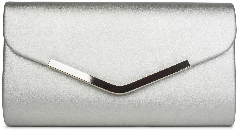 styleBREAKER Clutch Abendtasche im Envelope Kuvert Design mit Zierleiste aus Metall und abnehmbarer Kette zum umhängen, Damen 02012131, Farbe:Dunkelblau