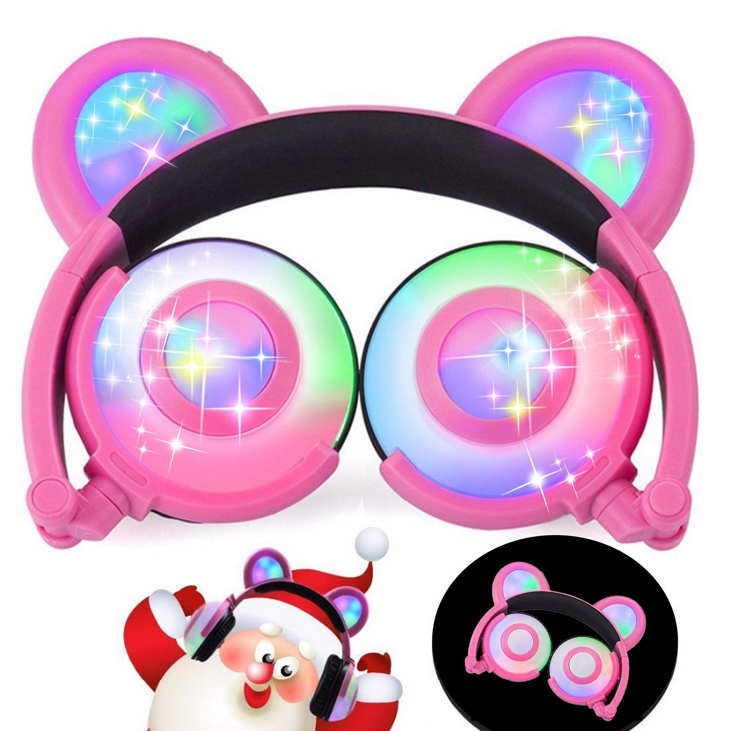Headphones Cat Ear Inspired Headband - Universal USB Rechargeable Foldable LED Lights Gaming Headsets Adults and Kids Girls Flashing Headphones for Phone Laptop Mp3 3.5mm Jack Device (T107 Bule-EP2) EarnCore