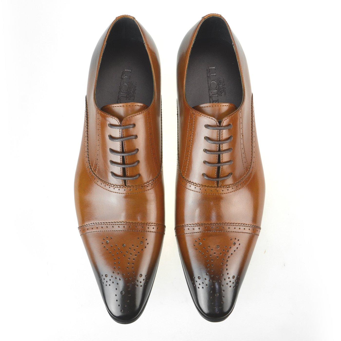 [ルシウス] LUCIUS メンズ 本革 レザー 革靴 ビジネスシューズ メダリオン 穴飾り 紳士靴 ロングノーズ ラウンド ポインテッド トゥ 【 AZ245B 】 B016NNA4J4 25.0 cm 3E LLT79-1 ブラウン