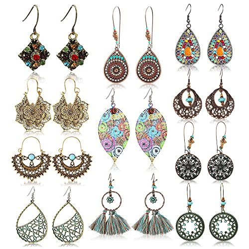 94ba40678fdb5 Amazon.com: Vintage Drop Dangle Earrings Boho Statement National ...