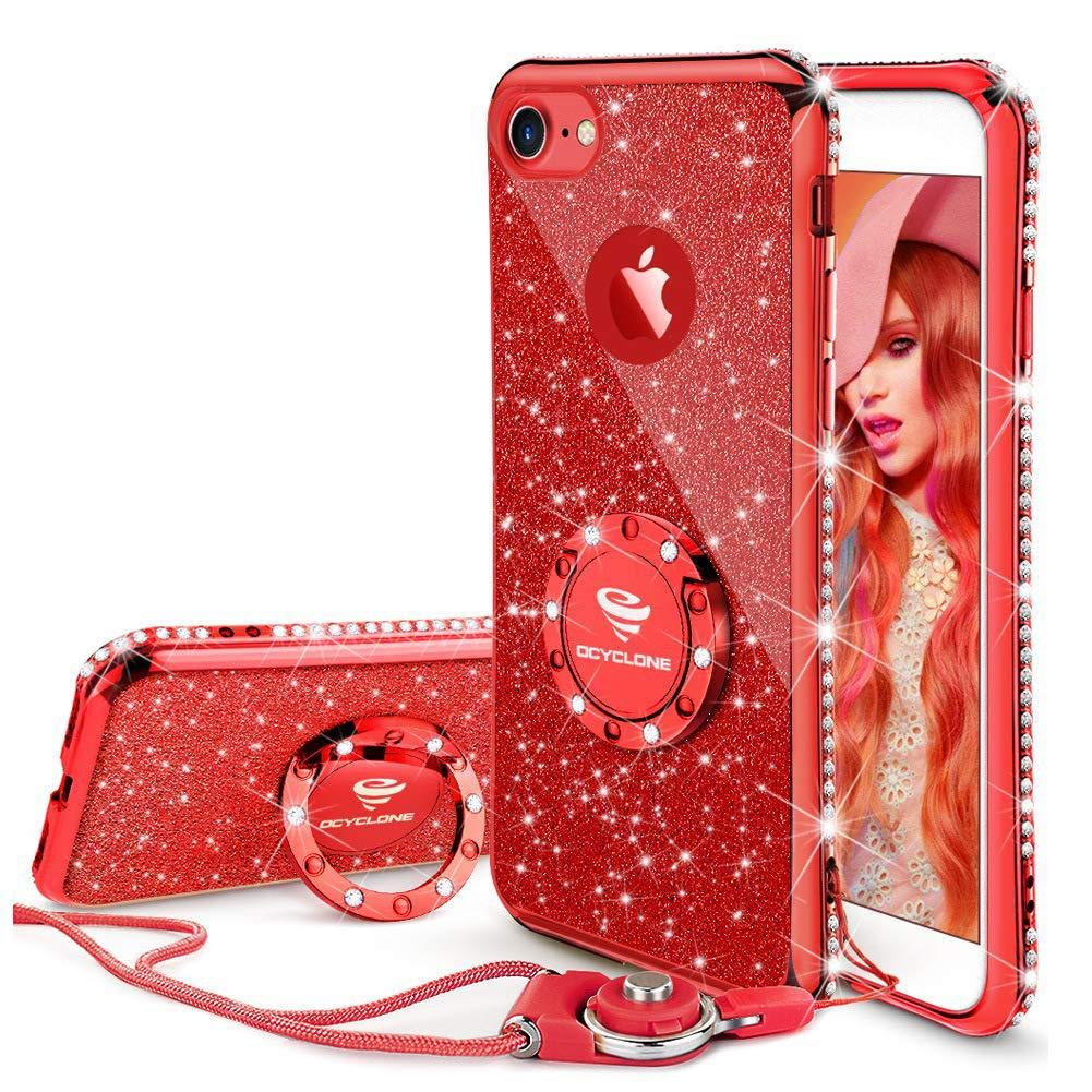 iphone 8 case red glitter