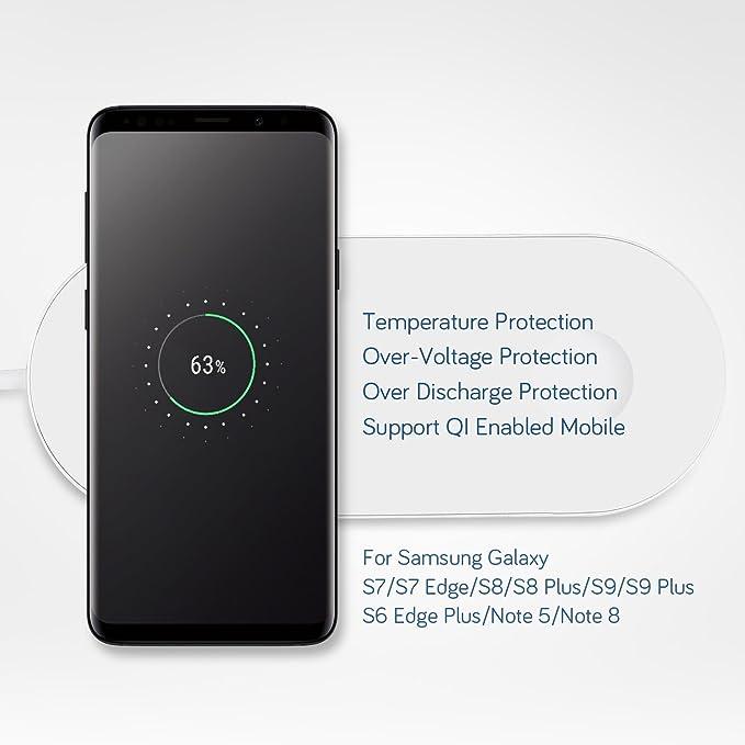 Sararoom Cargador Inalámbrico, 2 en 1 Cargador Inalámbrico Rápido 10w para iPhone X, Reloj Apple Series2,3, Samsung Galaxy S6 / S6 Edge / S7 / S7 Edge ...