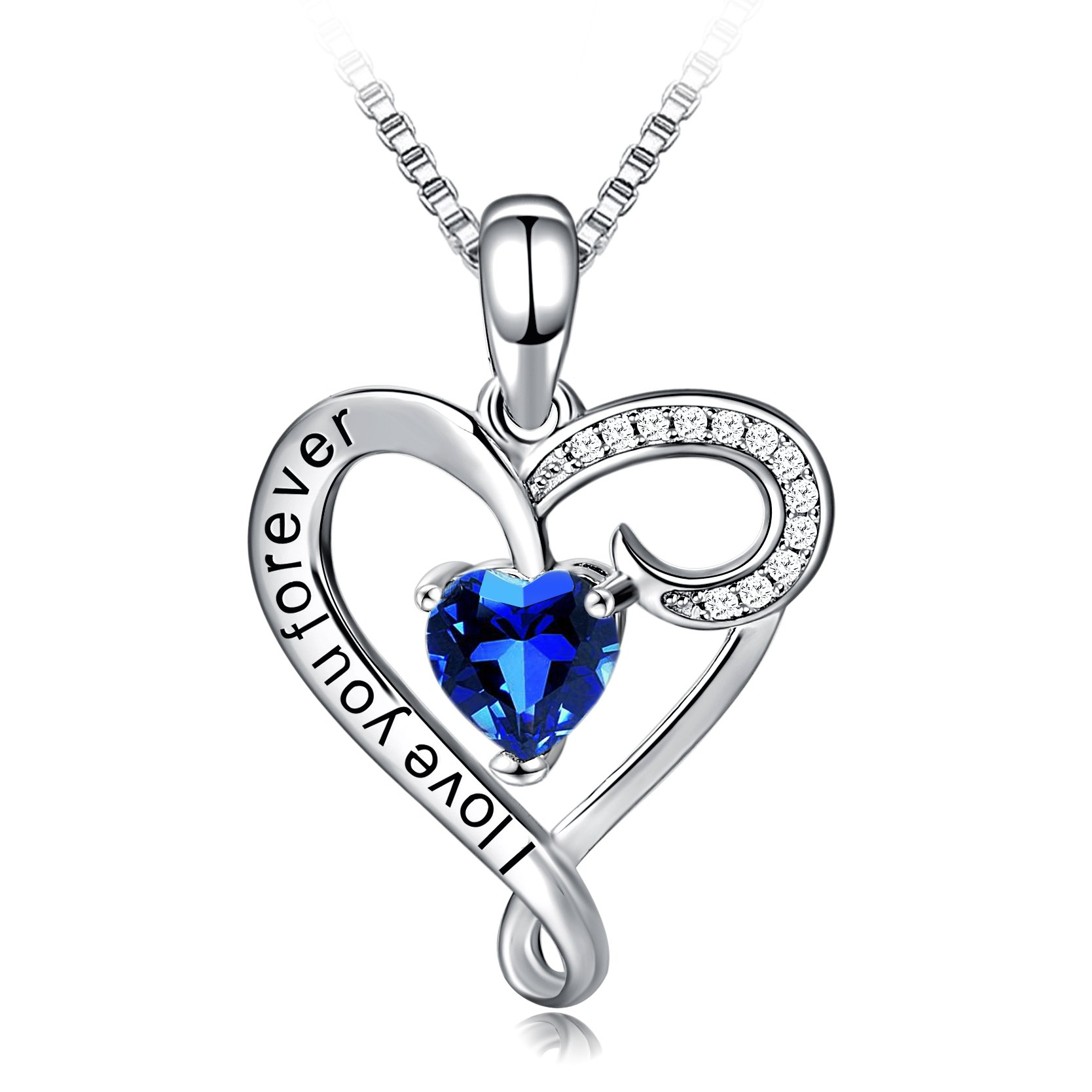 Long Way Necklace,925 Sterling Silver Love You Forever Blue Heart Pendant Necklace Fine Jewelry for Women, Best Gift for Mother Wife Girlfriend at Birthday,Christmas