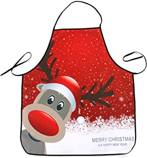 OULII Christmas Apron Kitchen Waterproof Adult Apron with Elk Print for Cooking Baking