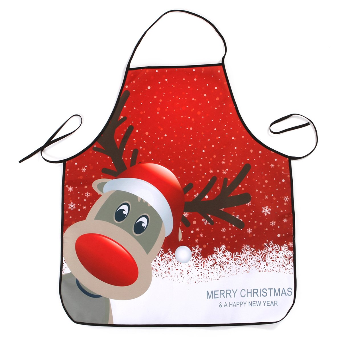 BESTOMZ Christmas Apron Adult Apron Family Dinner Cooking Baking Chef Christmas Gift Apron (Elk Head)