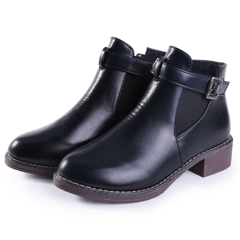 JUDY Retro Women's Martin Bootie Shoes Leather Casual- Low Heel Ankle Booties Velvet-Winter