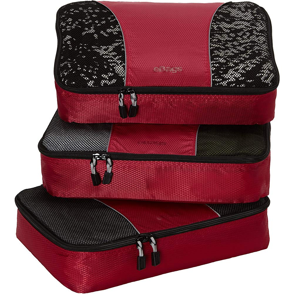 eBags Medium Classic Packing Cubes for Travel - 3pc Set - (Raspberry) by eBags