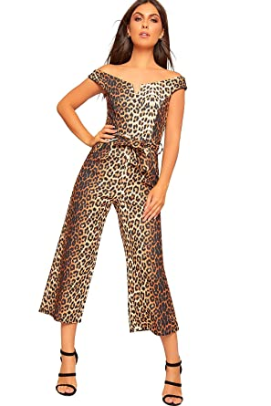 9f0bd1be8d WearAll Women s Off Shoulder Leopard Print Wide Leg Palazzo Jumpsuit  Trousers Ladies New - Brown -