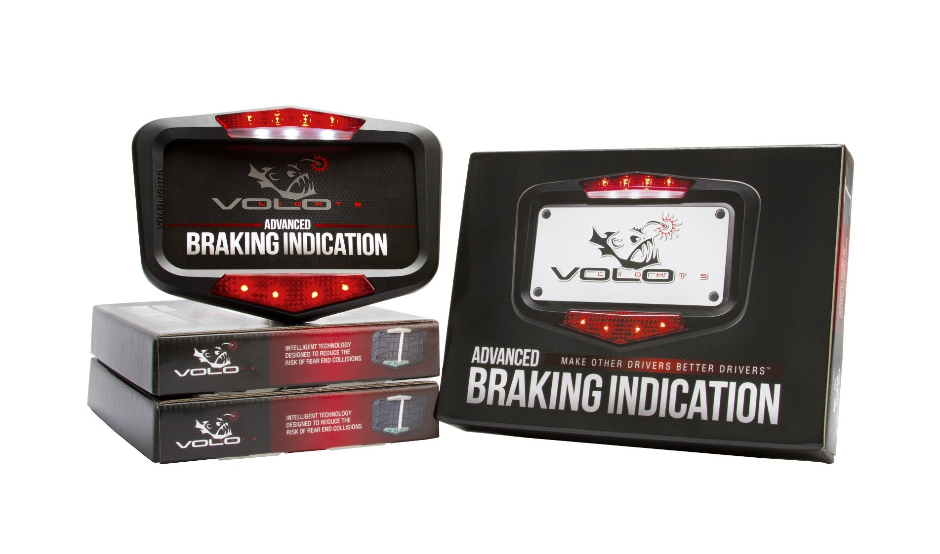 Vololights Motorcycle Brake Lights Indicates Braking From Engine Braking and Downshifting, Easy 5 Minute Installation, Waterproof and Rugged Design, Matte Black Finish