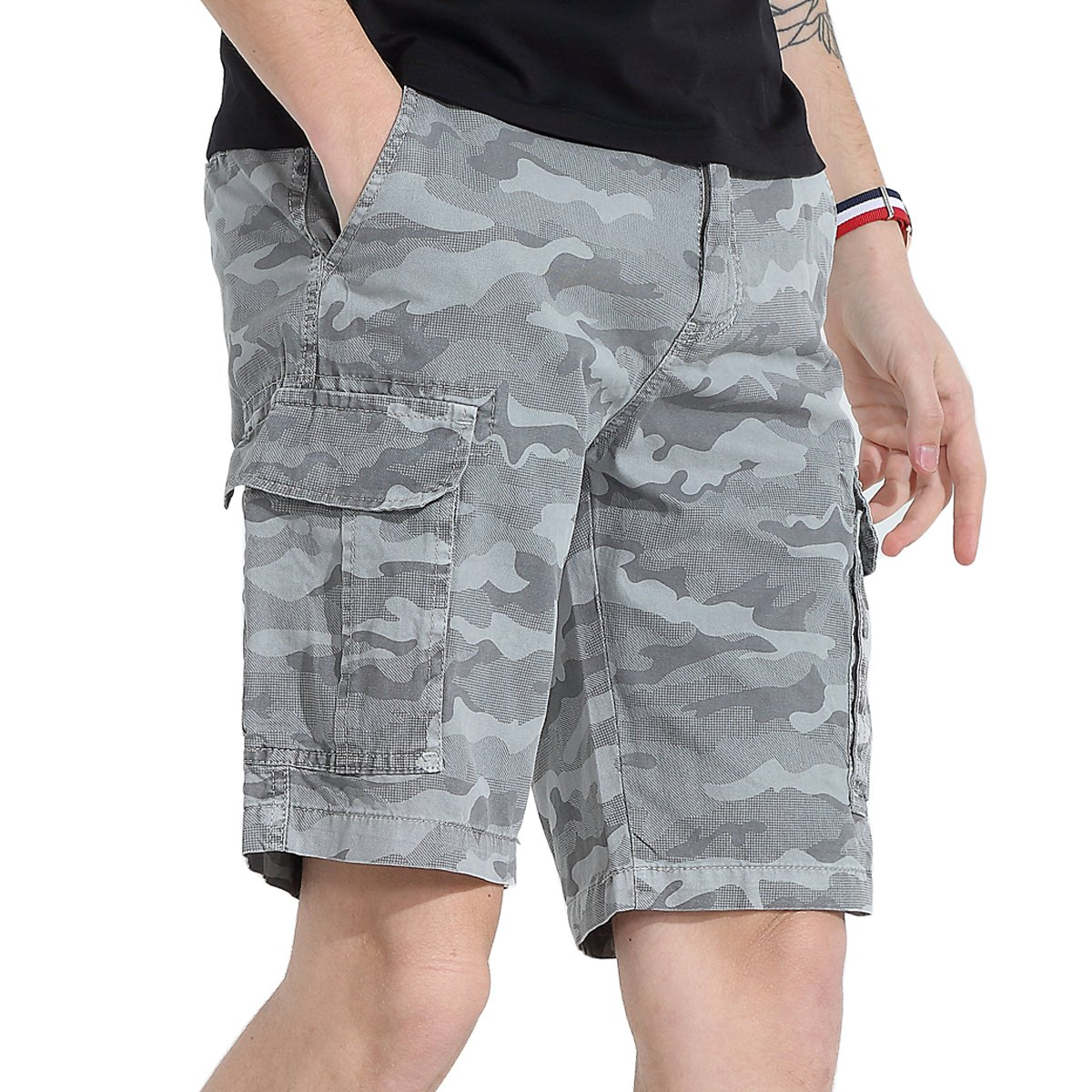 Men's Camo Cargo Shorts Cotton Casual Outdoor Beach Work Slim Fit Loose Travel Construction Hiking Military Army Hunting Tactical Ranch Multi Pocket Utility Dungarees Pants (Grey Camouflage 32)