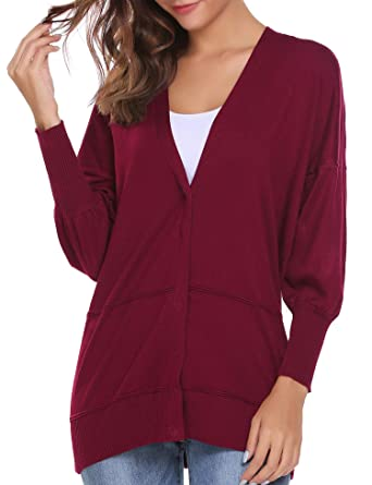 4648566d789 Zeagoo Women s Classic V Neck Button Up Long Sleeve Cardigan Sweater  Boyfriend Cardigan Jersey Shrug Dark