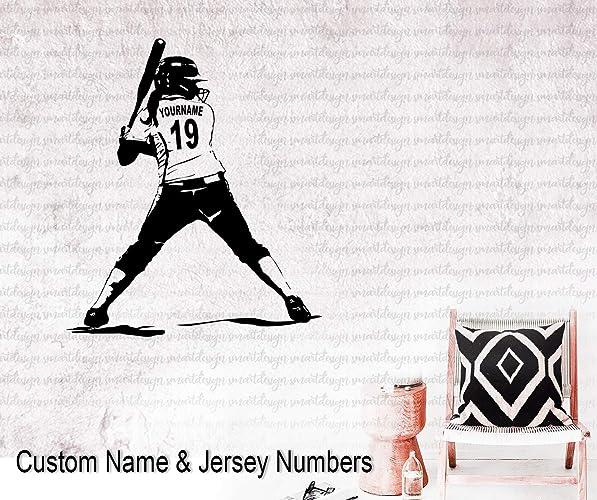Amazon com: Softball Wall Art - Custom Name Softball girl