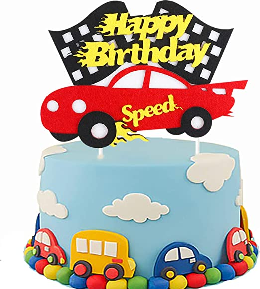 Astounding Amazon Com Pantide Birthday Cake Topper Decoration Racing Car Funny Birthday Cards Online Eattedamsfinfo