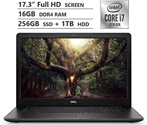 "Dell Inspiron 17 Laptop, 17.3"" Full HD Screen, 10th Gen Intel Core i7-1065G7 Quad-Core Processor up to 3.90GHz, MX230 Graphics, 16GB RAM, 256GB SSD + 1TB HDD, DVD, Wireless-AC, Win 10, Black (Renewed)"