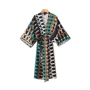 Women V Neck Vintage Geometric Pattern Dress Oversized Elastic Waist Pleated Ladies Casual midi Dresses Vestidos