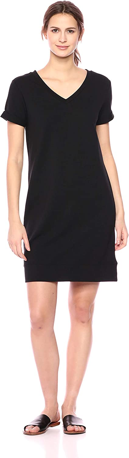 Amazon Brand - Daily Ritual Women's Terry Cotton and Modal Short-Sleeve V-Neck Dress