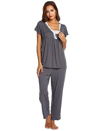 01261d907cf58 Skylin Women Soft Nursing Pjs Pajamas Set Short Sleeve Maternity Sleepwear  (Grey, Small)