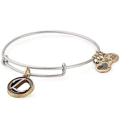 a0cb5c292ec Amazon.com: Alex and Ani Women's Initial L II Bangle Two Tone Bracelet,  Rafaelian Silver: Jewelry