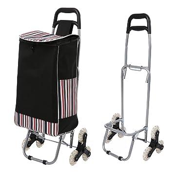 Simlive Carrito de la compra plegable de tres ruedas, ligero, con bolsa impermeable extraíble